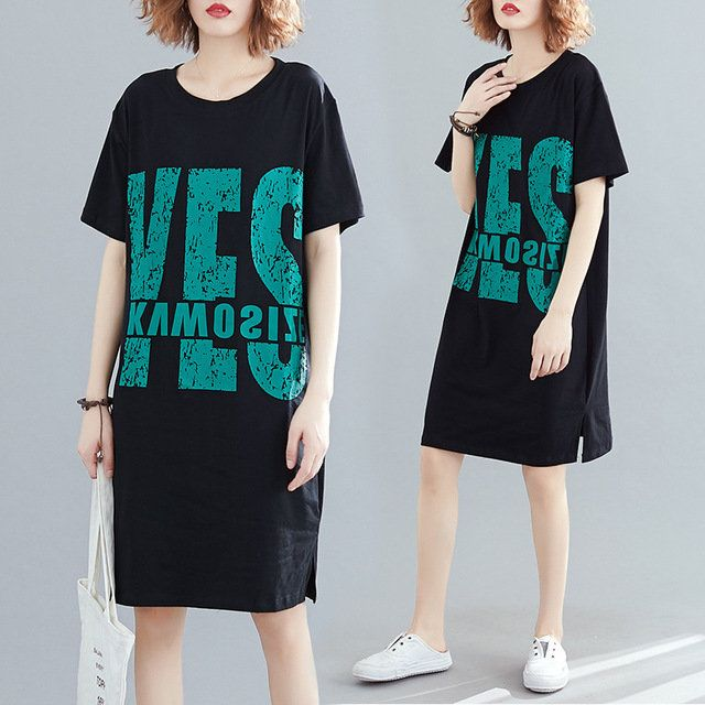 Harajuku Style New Fashion Big Size Women's Yes Print Dress Loose Short-slee…