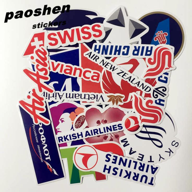 52pcs/bag 2016 New Style Airline LOGO Pvc Sticker Waterproof Stickers Fashion Trunk Laptop Brand Handbag Stickers Toys