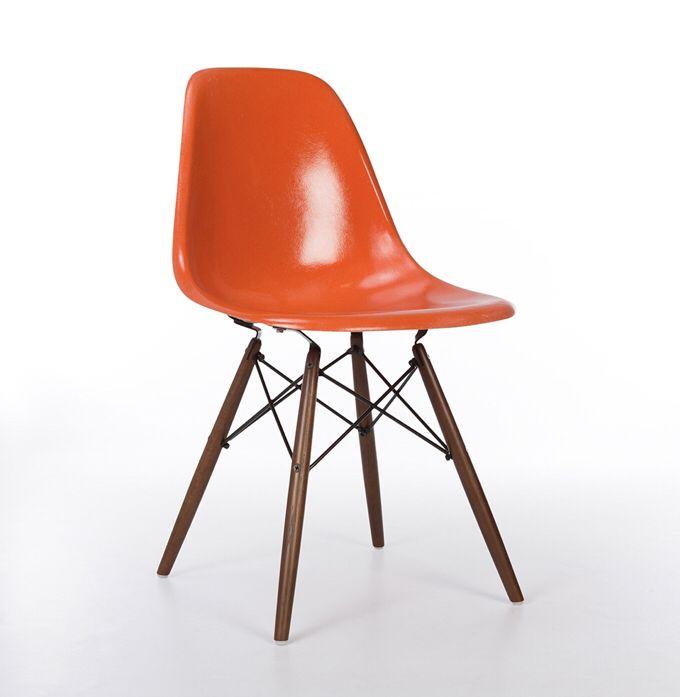 Orange 1960s Herman Miller Eames Dsw Dowel Side Chair Side Chairs Dining Vintage Eames Eames Furniture