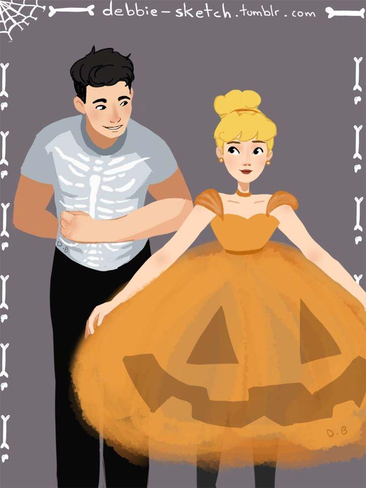 disney-ilustraçao-casaisfantasiados-halloween-cinderela