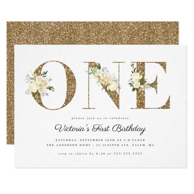 Gold Glitter Watercolor Floral 1st Birthday Party Invitation