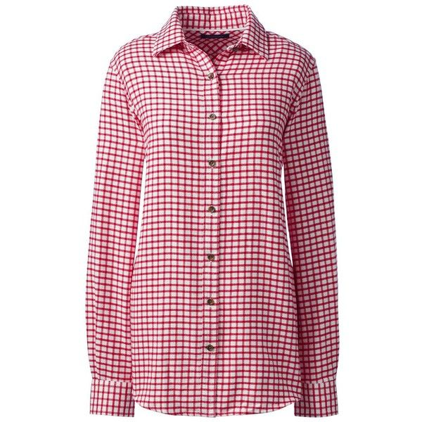 Lands' End Women's Petite Long Sleeve Flannel Shirt ($49) ❤ liked on Polyvore featuring tops, neutral, flannel shirts, pink top, pink flannel shirt, pink long sleeve top and long sleeve flannel shirts