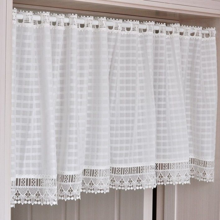 White Window Short Curtains French Provincial Home Kitchen Lace Sheer Curtain Cafe Eyelet http://s.click.aliexpress.com/e/7qvznAiiy