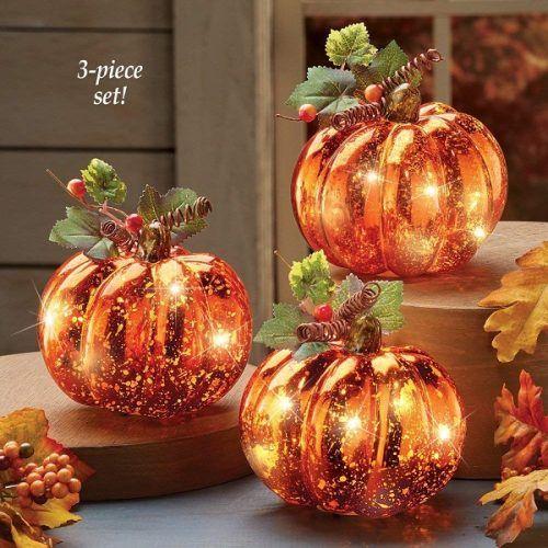 Harvest Pumpkin Set Of 3 With LED Lights