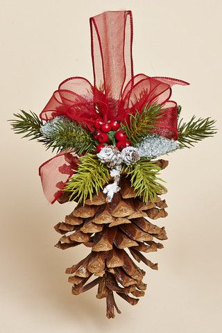 """Set of Two, 5""""-6"""" Decorated Natural Pine Cone Hangers with Faux Pine, Red Berries and a Red Bow"""