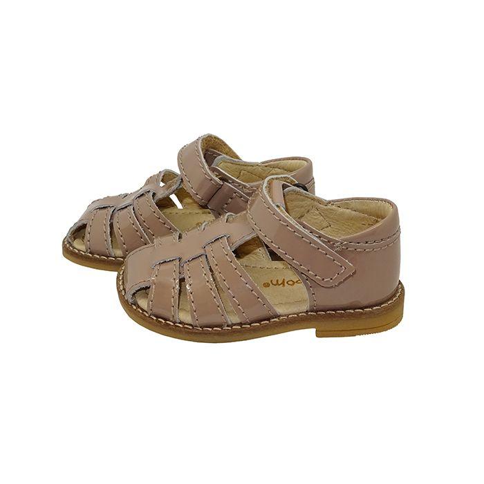 Pom Pom sandal m. flet / side - Cappucino lak