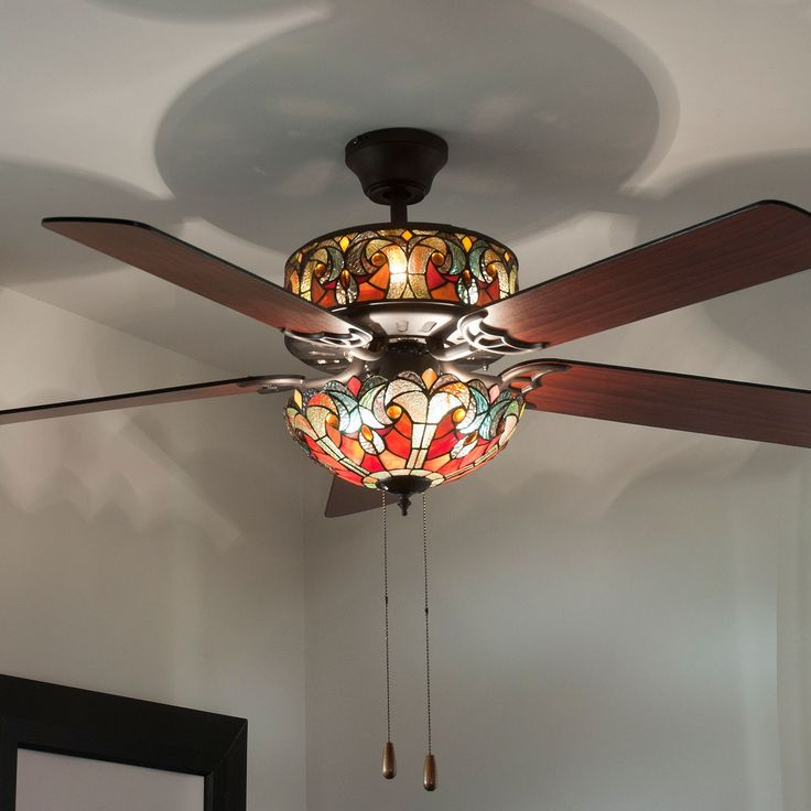 $198.02 - 432-306 - Tiffany-Style 52'' Halston Double Lit Stained Glass Ceiling Fan  SPICE