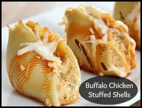 BUFFALO CHICKEN STUFFED SHELLS pinned from lipglossdishesanddiapers