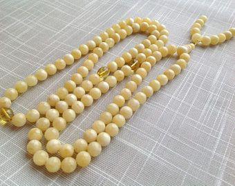 White amber rosary, 9.5 mm Tibet buddhist 108 prayer beads, mala necklace, yoga meditation beads, boho beads