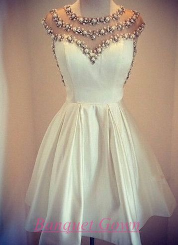 Lovely White Pearls 2016 Short Prom Dress Cap Sleeve Vintage Homecoming Dress For Girls