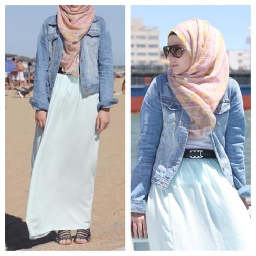 denim hijab outfit - Google Search