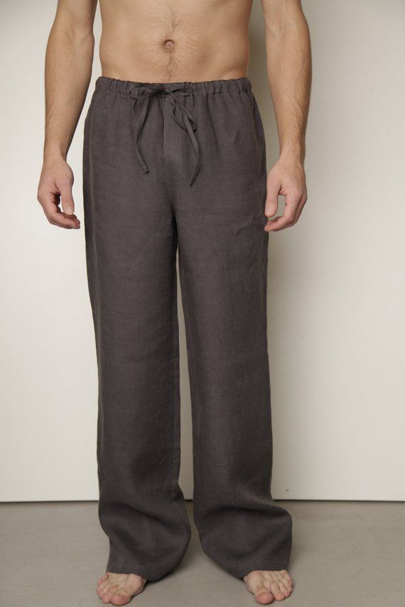 09b4a8f80e0 Linen Classical Pajama Trouser for Men/ Linen Mens Loungwear/ Linen  Sleepwear For Men in 2019 | Products | Linen drawstring pants, Trousers,  Pajamas