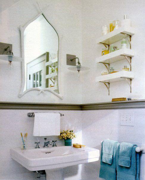 Professional Portfolio: Eddie Ross: Lightweight Shelves, Small Bathroom, House Ideas, Shelf Brackets, Bar Shelves, Towels Bar, Spaces Save, Bathroom Shelves, Shelves Ideas