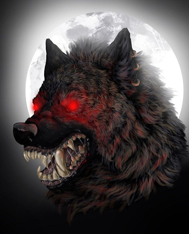 Foto Ungeheuer Werwolf Eckzahn Fantasy Mond Grinsen Nacht Monsters