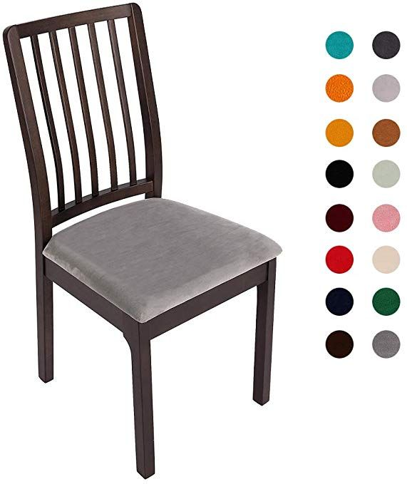 Soft Velvet Dining Room Chair Seat Covers Stretch Fitted Dinning Upholstered Chair Seat Cushion Cover Removable Washable Furniture Protector Slipcovers With T Velvet Dining Room Chairs Dinning Chair Covers Seat Covers