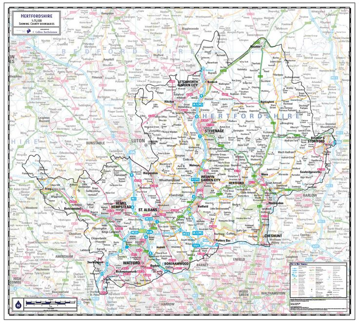 Hertfordshire County Wall Map Hertfordshire is the 36th largest county in England. The county has a population of over 1,120,000 and the county seat is in the city of Hertford. From £19.99 #County #Map #Hertfordshire