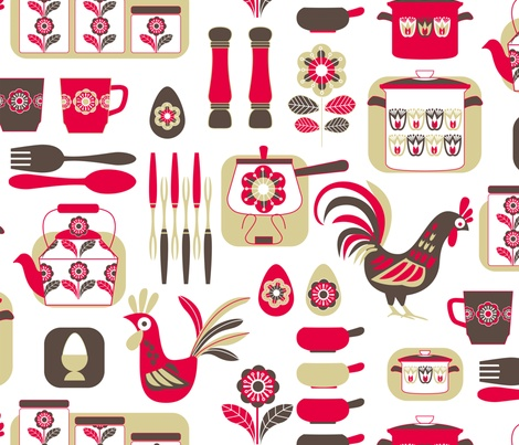 Retro Bliss Fabric By Cjldesigns On Spoonflower   Custom Fabric. Kitchen  FabricKitchen CurtainsKitchen ...