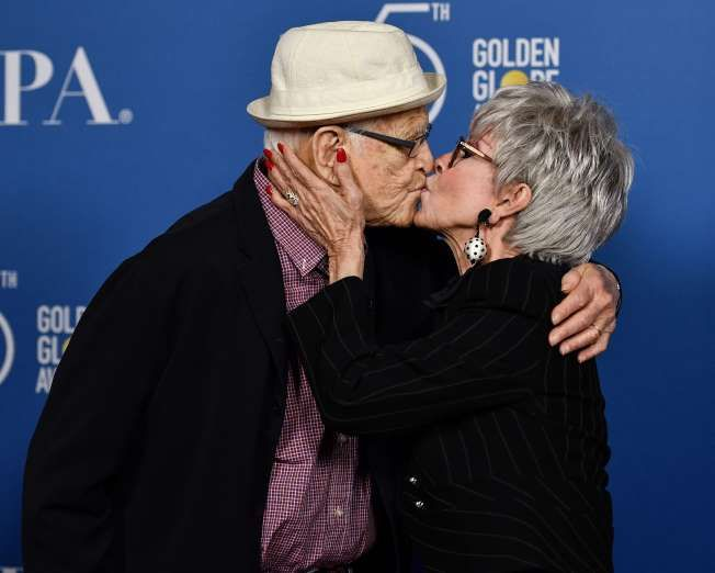 Celebrity PDA of 2017 - December 11, 2017:  Norman Lear and Rita Moreno shared an affectionate peck while at a Hollywood Foreign Press Association panel discussion in Los Angeles on Oct. 26.