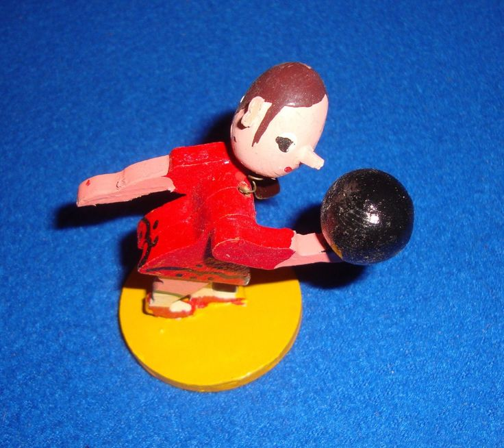 Vintage Hand Carved Wooden Sports Figure Nodder Bobblehead with Original Box | eBay