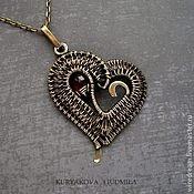 Украшения ручной работы. Ярмарка Мастеров - ручная работа латунная подвеска Плетеное сердце. Handmade.