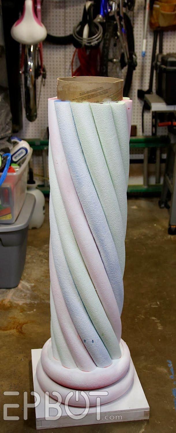 """EPBOT: Make Your Own """"Stone"""" Decorative Column... With Pool Noodles!--These would be perfect for the Fairytale play I'm writing!"""