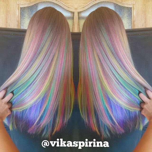 Rainbow hair color by Victoria Spirina. Pastel Hair Mermaid Hair ...