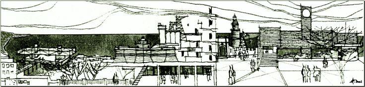nel 2001 ancora lavoravo. questo è uno dei miei disegni di allora in cui sono raggruppate le visioni della mia città natale, i miei ricordi di un tempo...