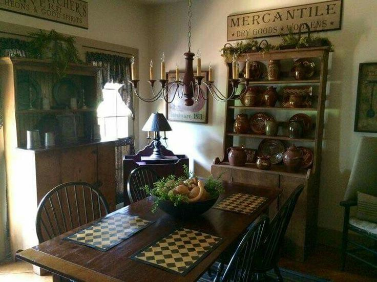 1421 best images about primitives on pinterest country for Primitive dining room ideas