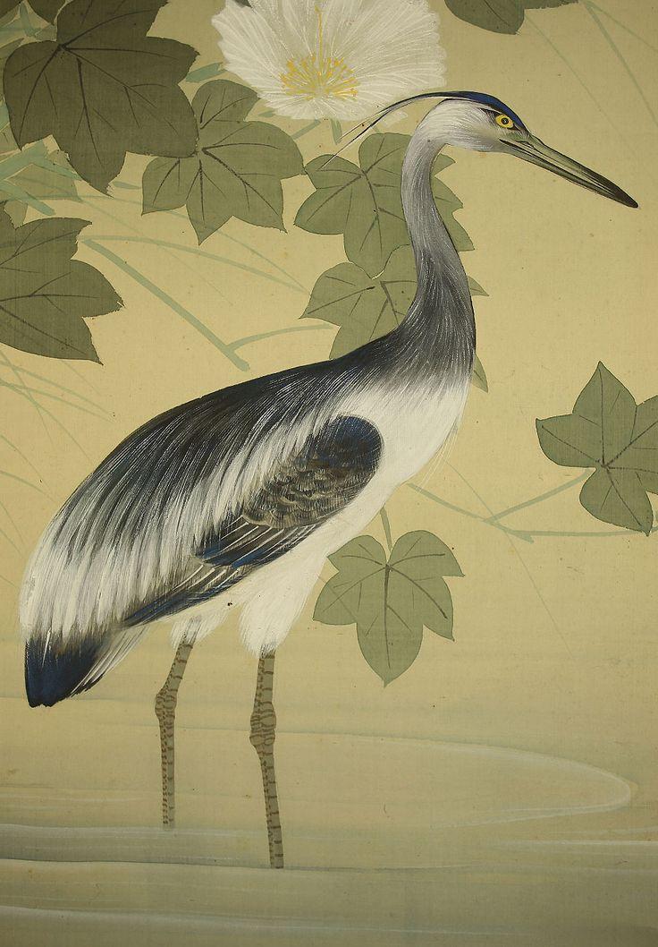 "HISHIDA SHUNSO ""Egret and Flowers"""