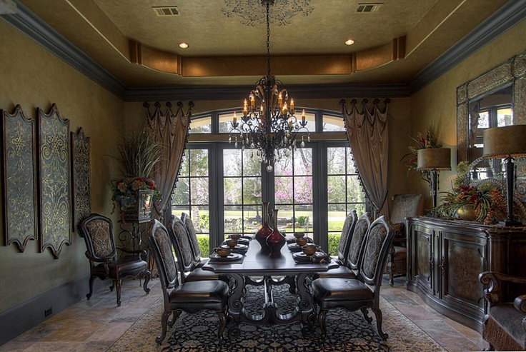 26 best dining room ideas images on pinterest damascus for Formal dining room curtain ideas