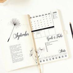 Journal mensuel pissenlit imprimable / Bullet Journal Insert /
