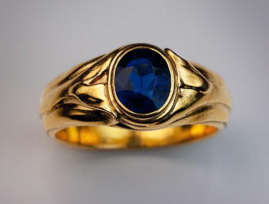 461bbc6a2 Art Nouveau jewelry - antique rings - men's sapphire gold ring | Men's rings  and bracelets | Men's jewelry rings, Gold rings jewelry, Vintage rings