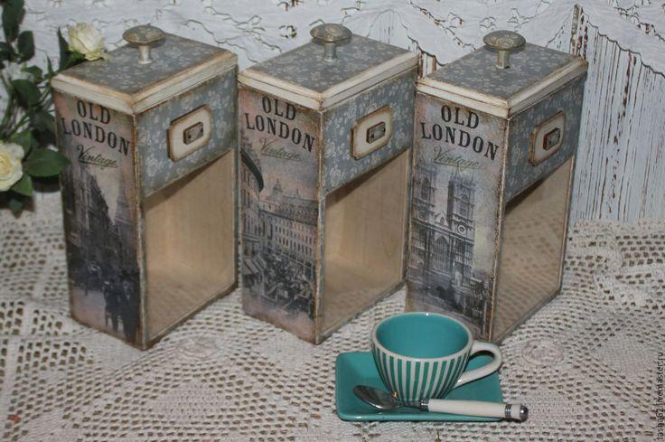 """Купить Баночки для чая,кофе """"Old London"""" - голубой цвет, баночки, баночки для специй"""
