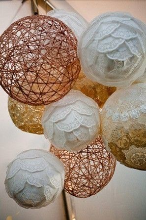 DIY coffee filter and doily paper lanterns for rustic wedding decor.