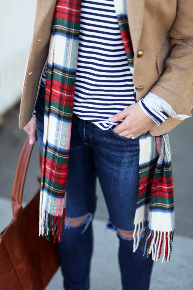 mixing prints. stripes. plaid scarf. camel coat. ripped jeans.: