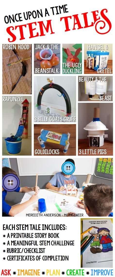 STEM Tales are fairy tales with a STEM twist. The engineering task is to solve the problem presented in the story. Perfect for grades 1-3! Choose from Goldilocks and the Three Bears, Rapunzel, Robin Hood, Hansel and Gretel, Jack & the Beanstalk, Beauty & the Beast, The Ugly Duckling, The Three Little Pigs, and The Three Billy Goats Gruff.   Meredith Anderson STEM Resources (priced item)