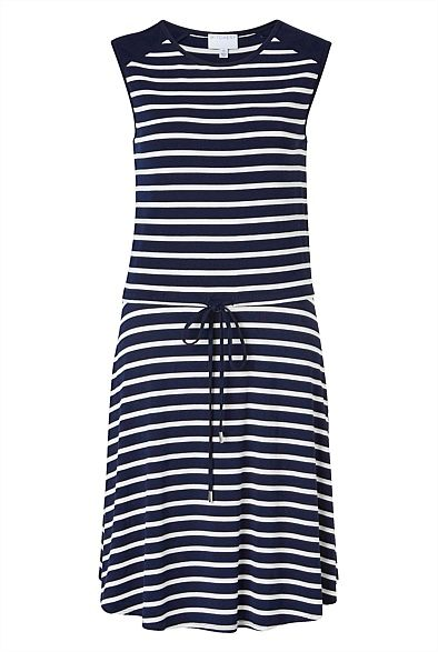 Drawstring Stripe Dress