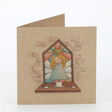 Kerstkaart met illustratie van Illu-Straver. Kerstengel glas in lood stijl, op kraftpapier.