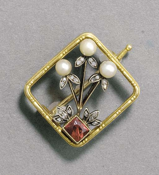 A JEWELLED GOLD-MOUNTED BROOCH  by Fabergé, unknown and unrecorded Cyrillic workmaster's initials RR, Moscow, 1896-1908, with scratched inventory number 31408 Of square form with rounded corners enclosing an openwork design enclosing three stylized flowers, each formed by a pearl, the leaves set with rose-cut diamonds emanating from a ruby in one corner, marked on rim and pin
