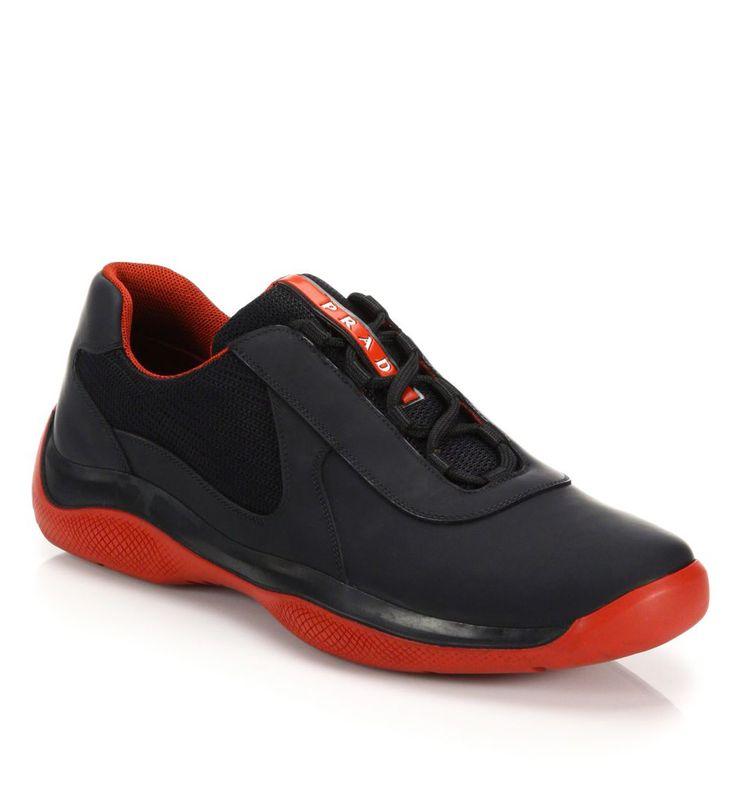Prada Punta Ala Leather Sneakers Black                   $119.00
