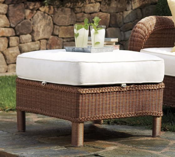 Palmetto All Weather Wicker Armchair Ottoman Honey