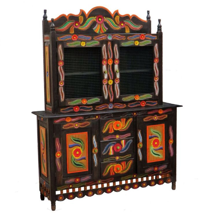 Folk Art Hand Painted Cabinet | From a unique collection of antique and modern cupboards at http://www.1stdibs.com/furniture/storage-case-pieces/cupboards/