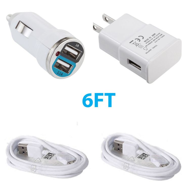 Car Charger + Wall Charger + 2x Data Sync Cable For Samsung Note 3 Galaxy S5 #Wirez4U
