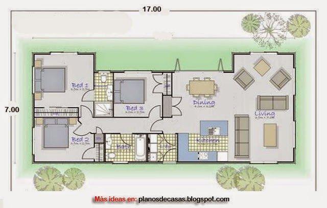 Plano de casa rectangular de 17 m x 7 m planos en 2019 for Distribucion de una casa de una planta