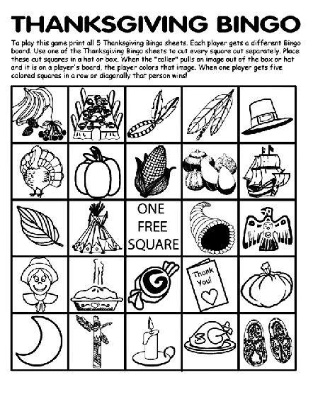Thanksgiving Bingo Board No.2 coloring page