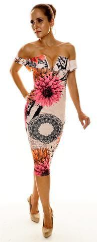Paisley Floral Plunge 'V' Neck Sleeveless Bodycon Dress