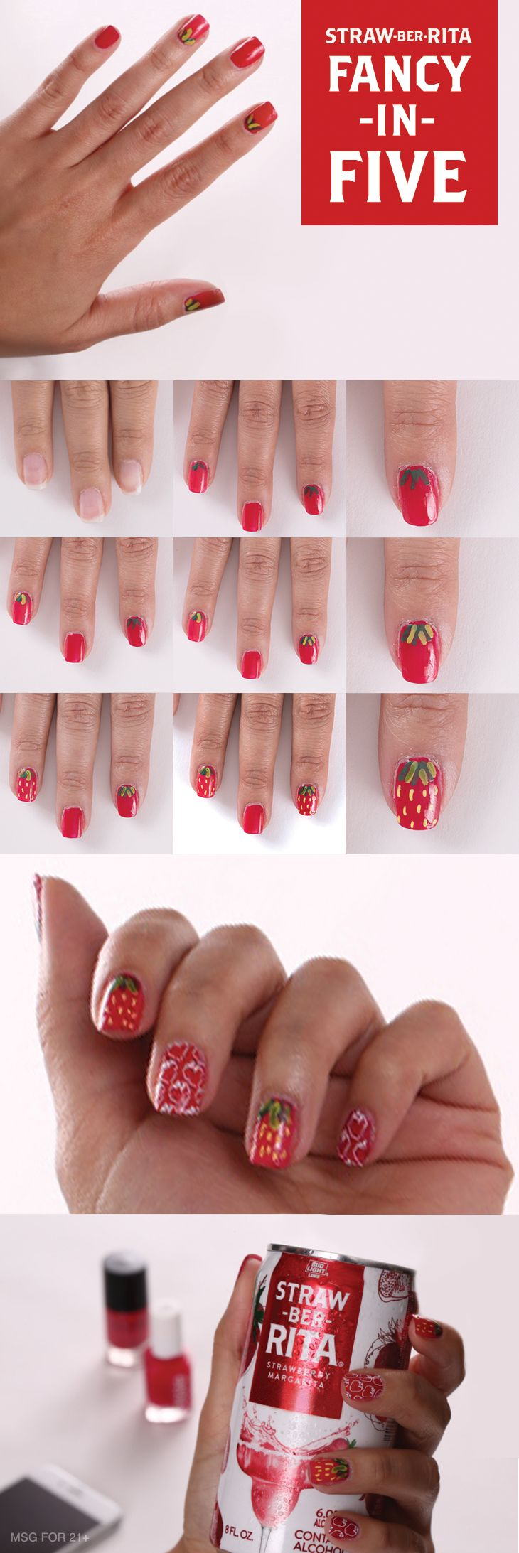 Looking for some ideas to spice up your next party look? This Straw-Ber-Rita inspired nail art is the perfect design to elevate your Spring look
