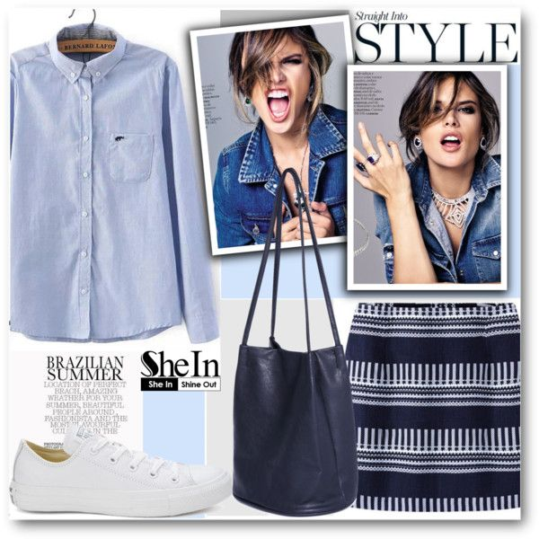 Straight into style...www.shein.com by pokadoll on Polyvore featuring Converse, Sheinside and shein