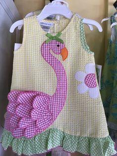 Bonnie Jean R29277-PV Yellow Flamingo Seersucker