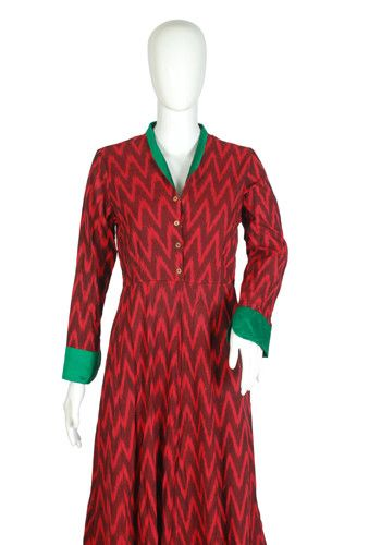 Red and Green Ikat Dress